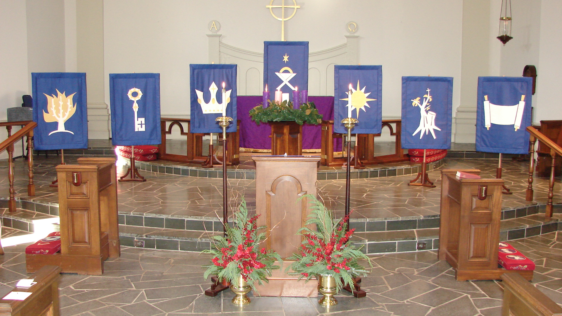 The symbols on the banners, derived from the Old Testament, are as ...